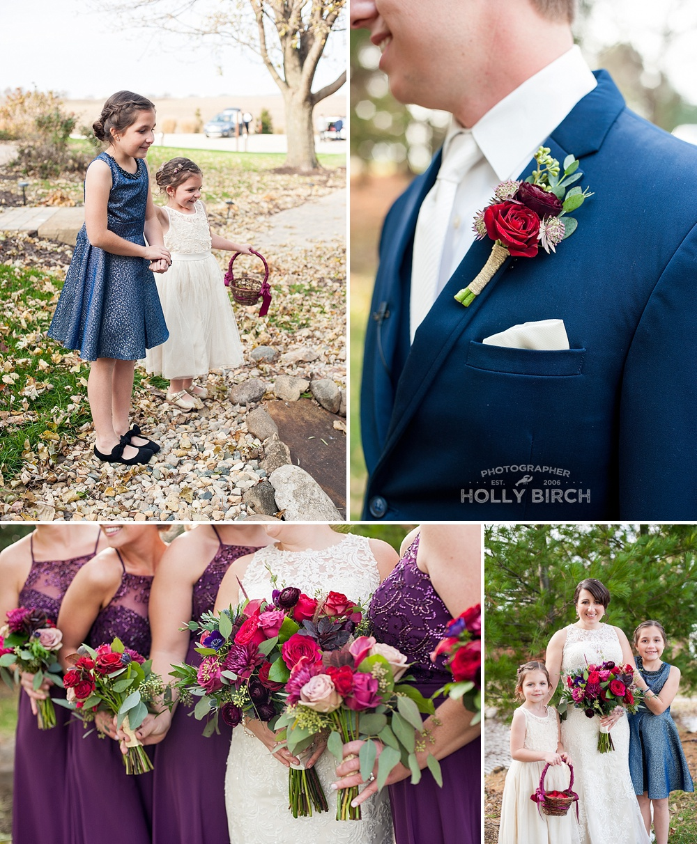 purple red floral details for fall wedding