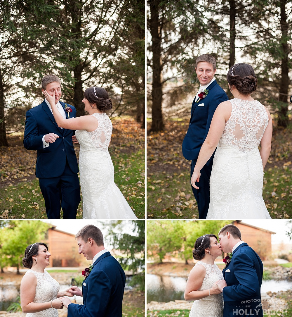 bride and groom seeing each other for the first time