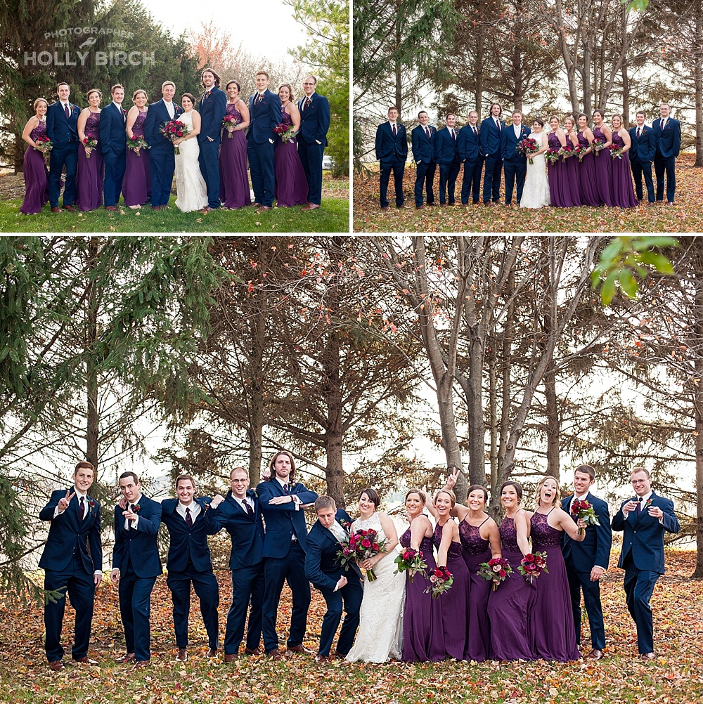 wedding party in navy and purple