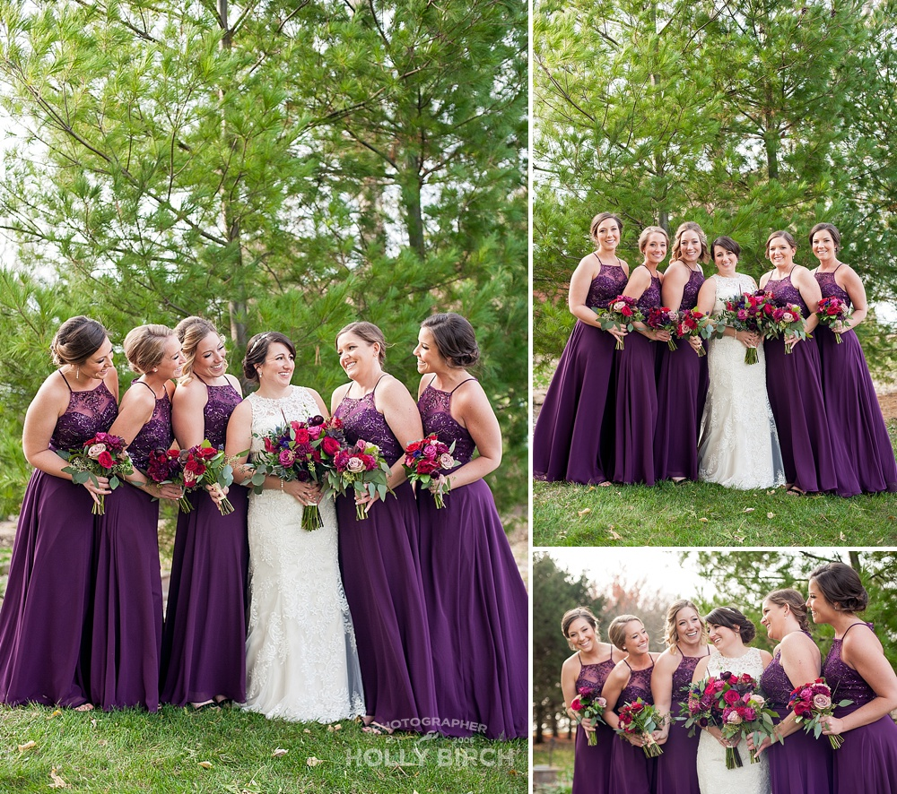 bridesmaids in purple from Michelle's Bridal