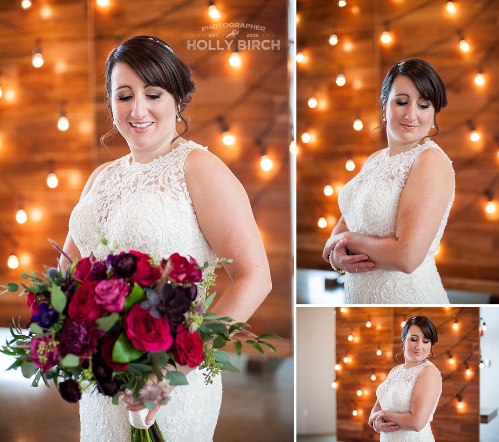 bride with bulb light wall