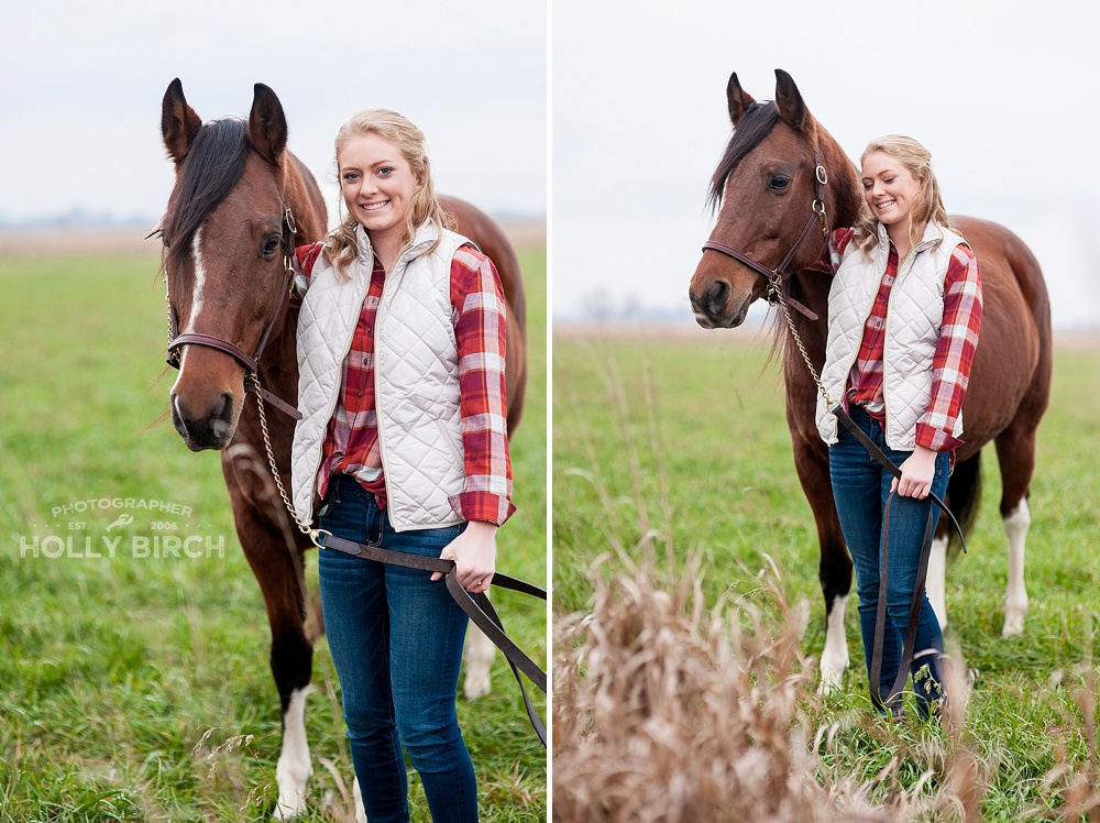 senior girl posing with riding horse