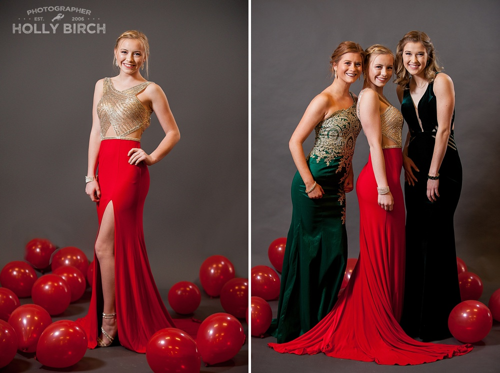 red balloons prom dress backdrop