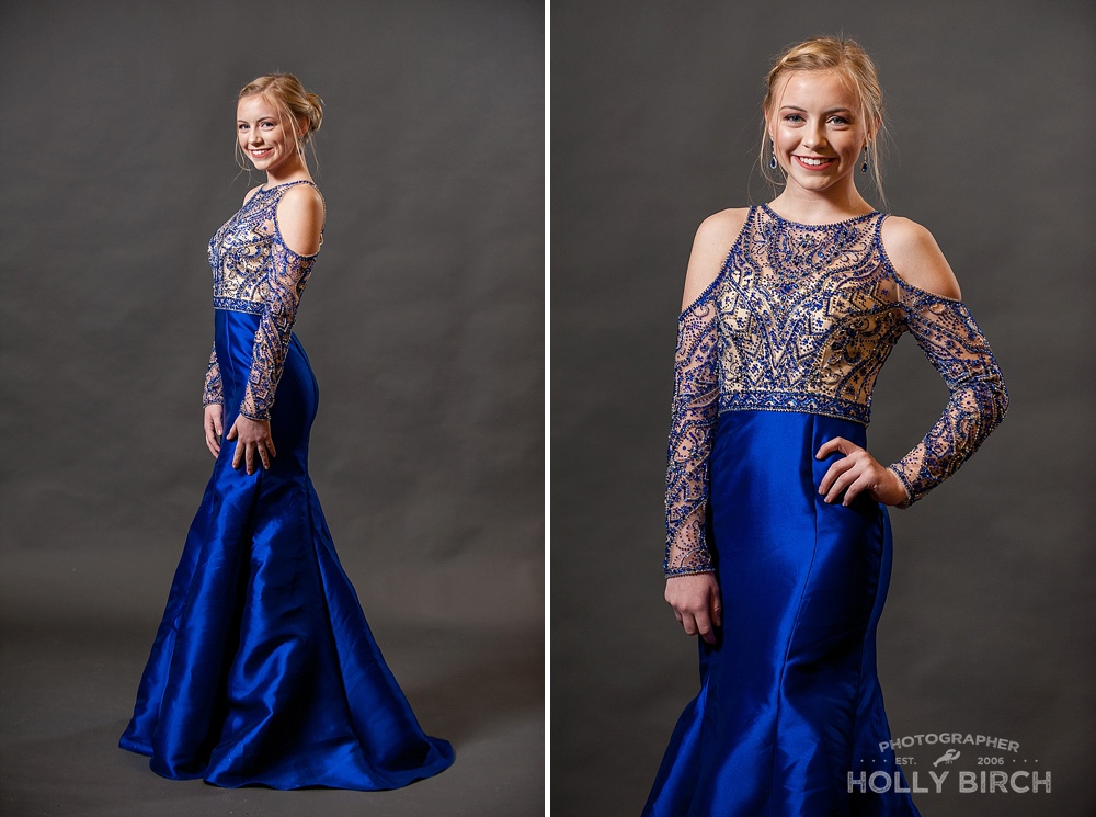 royal blue prom dress with gold embellishments