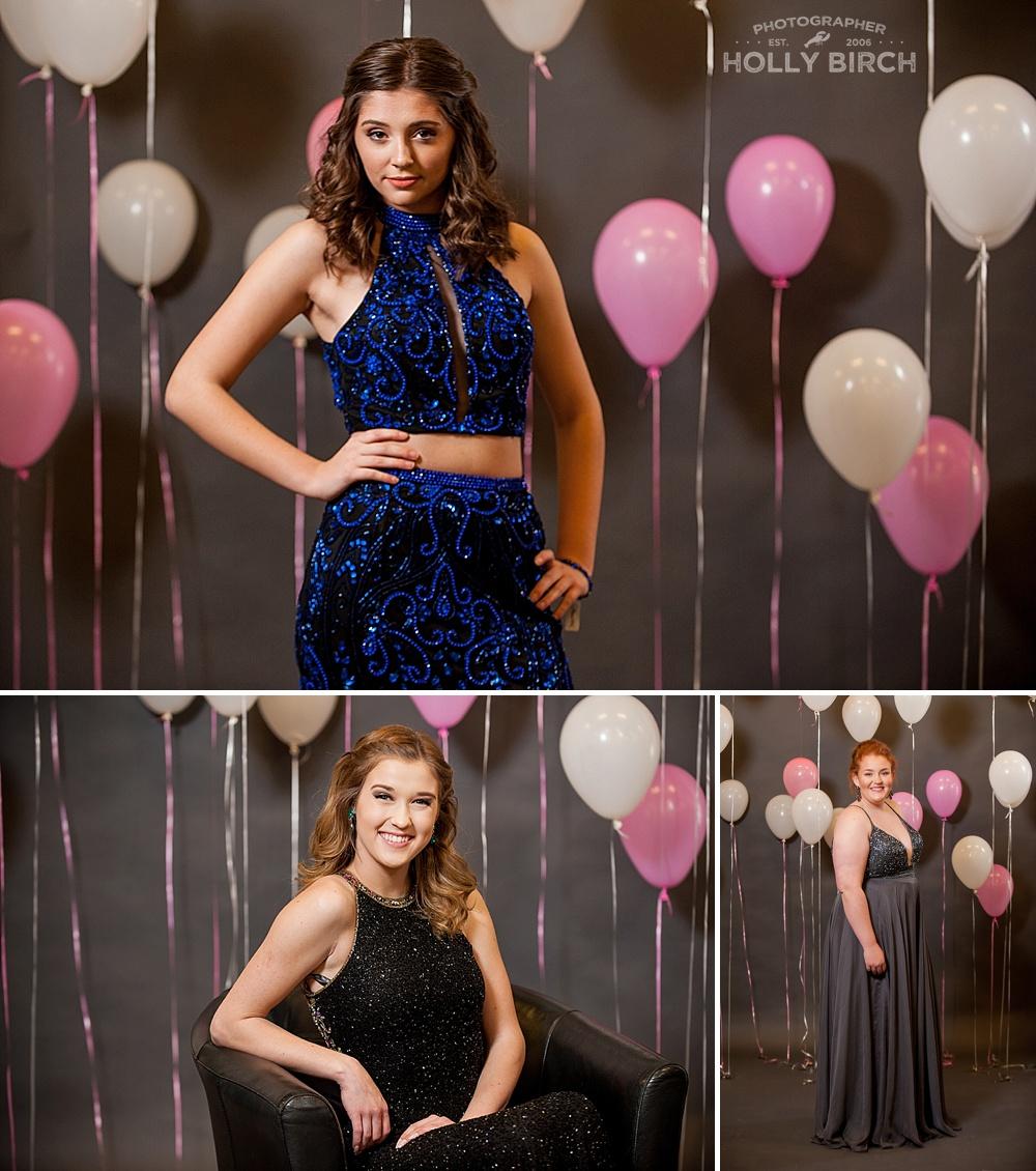 prom dress pink balloon background