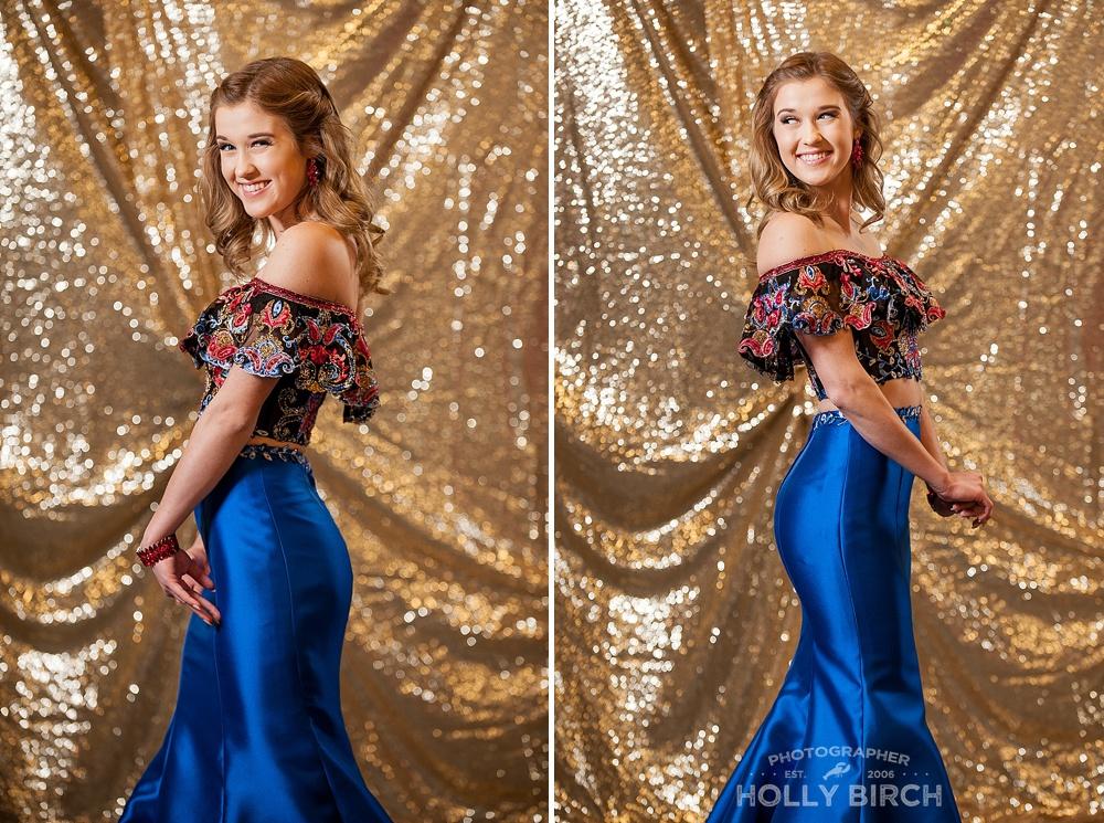 off shoulder blue prom dress style