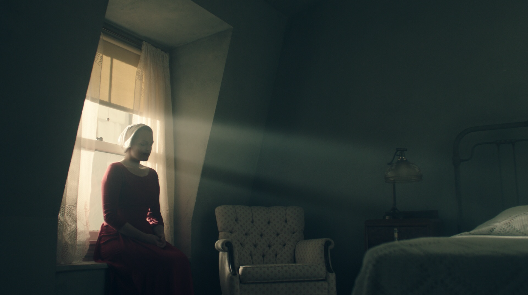 The Handmaid's Tale is another great study in the use of light and lack thereof.  One of my favorite cinematic uses of light is like this where you can see clear beams of light coming through a window or slat.