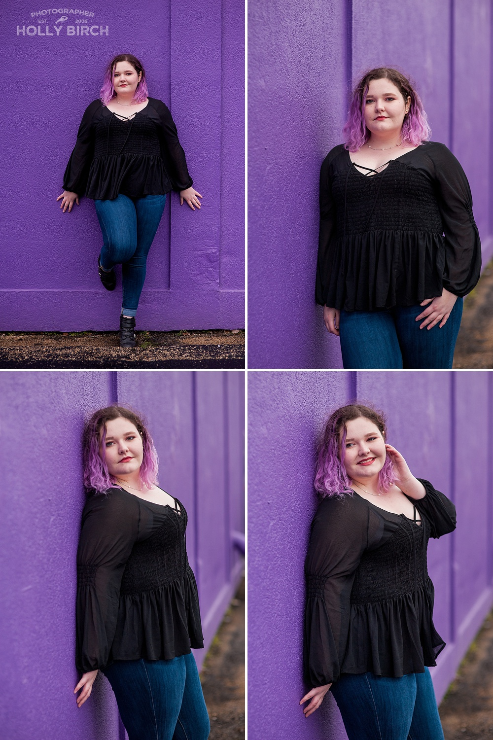 purple hair accented by purple wall