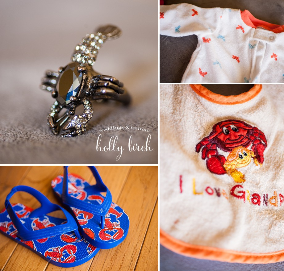 lobster jewelry sandals and bib