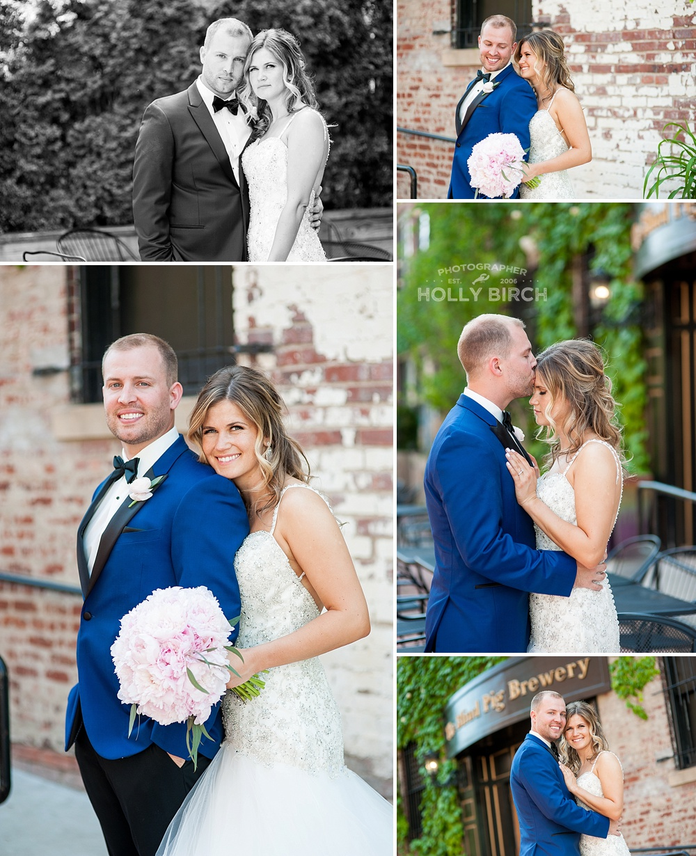 wedding day portraits with brick wall and vines
