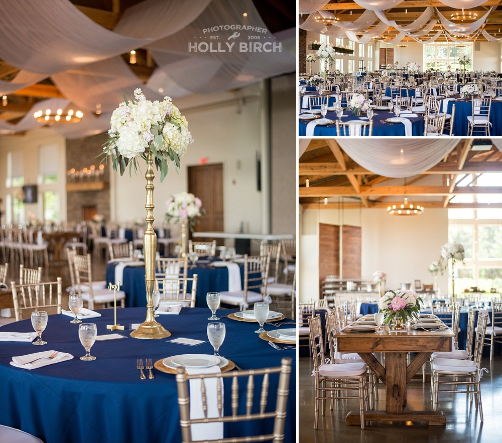 navy gold wedding reception setup