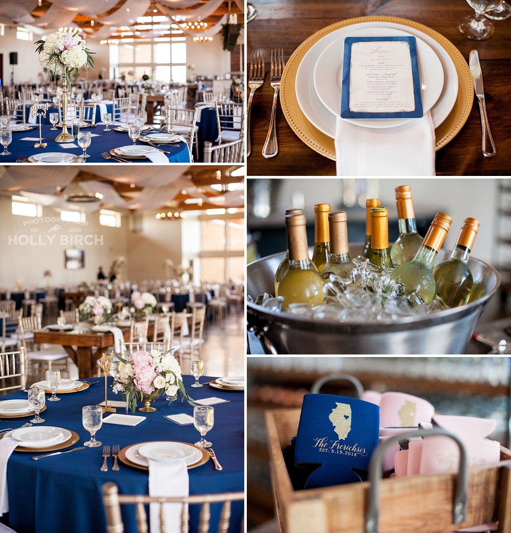 Navy blush gold wedding color scheme