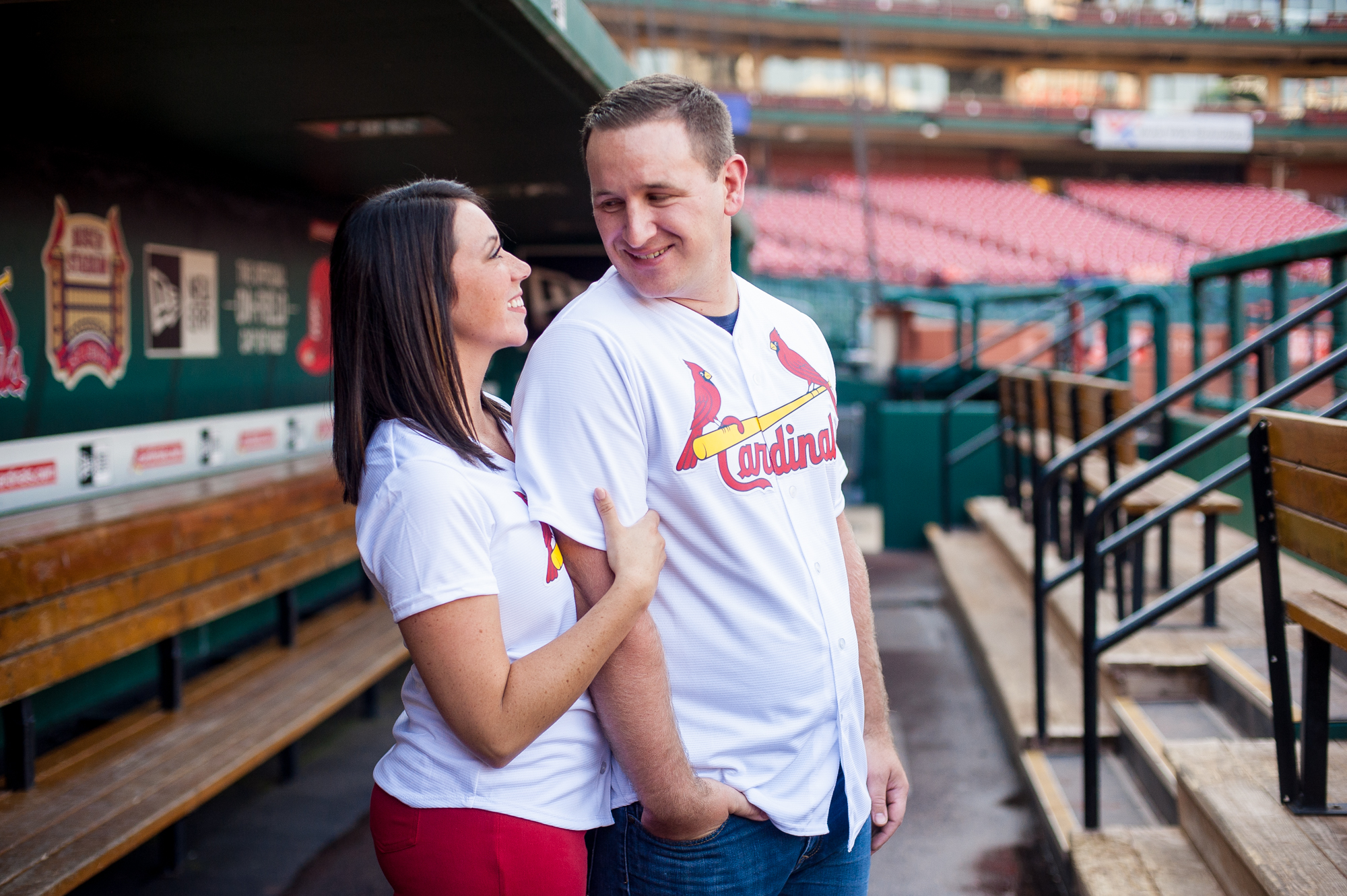 Busch Stadium Cardinals engagement photos