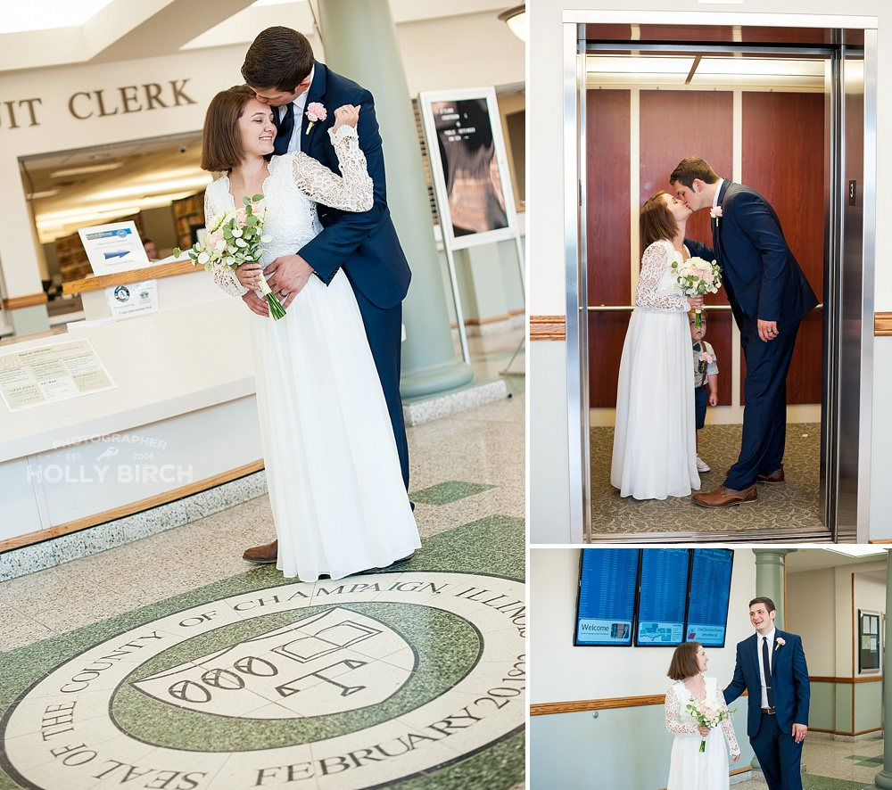 wedding photos inside champaign county courthouse