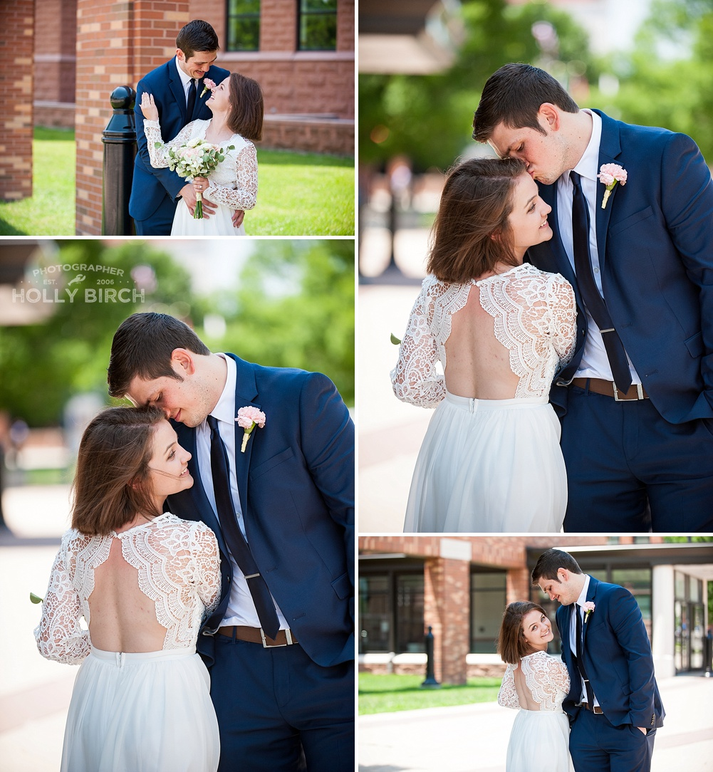 wedding pictures outside Champaign courthouse in Urbana
