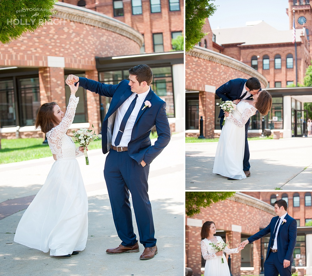 dancing in front of courthouse after elopement wedding