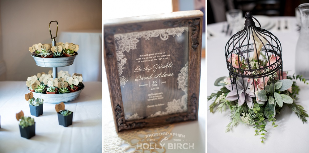 succulent wedding reception decor details