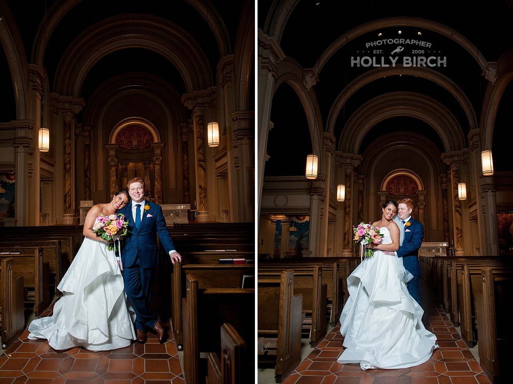 dramatic wedding portraits inside Holy Cross church