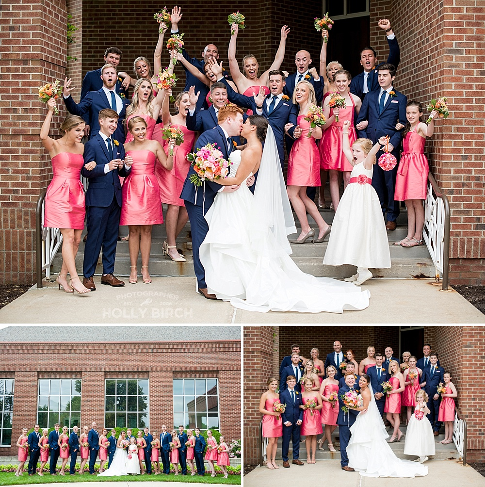 navy hot pink orange wedding party colors
