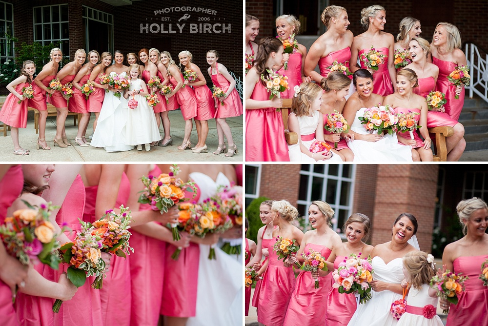 hot pink orange bridesmaids groups