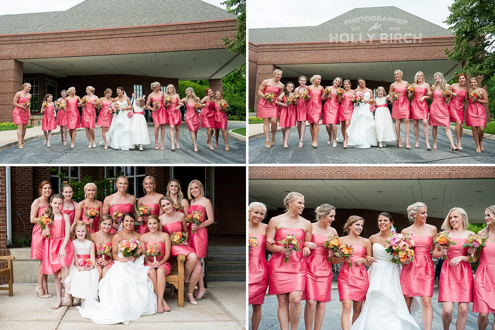 deep pink bridesmaids dresses with orange bouquets