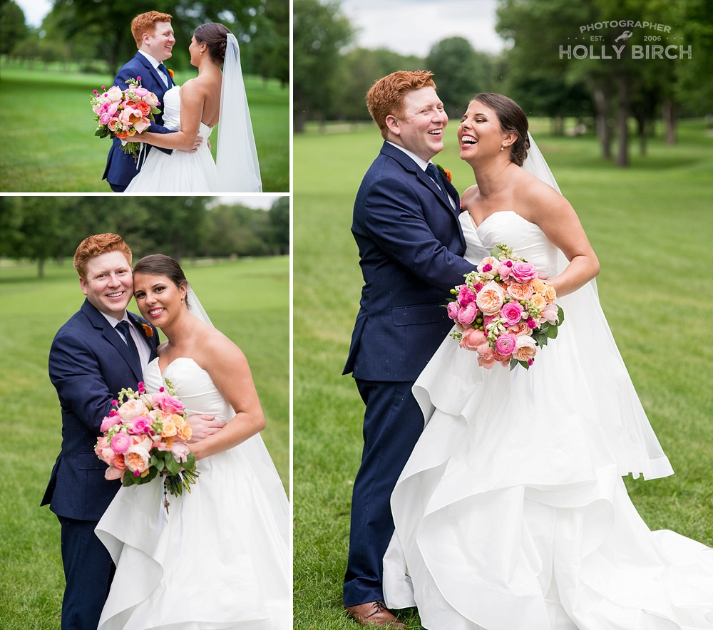 country club wedding with bride and groom