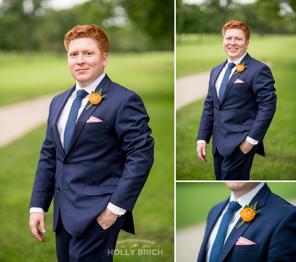 groom portraits on golf course