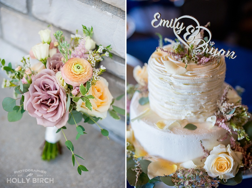 floral cake and bouquet by Flowers by Kristine