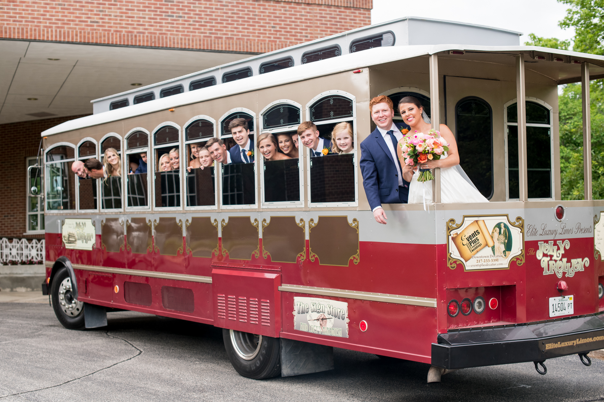 wedding party trolley champaign
