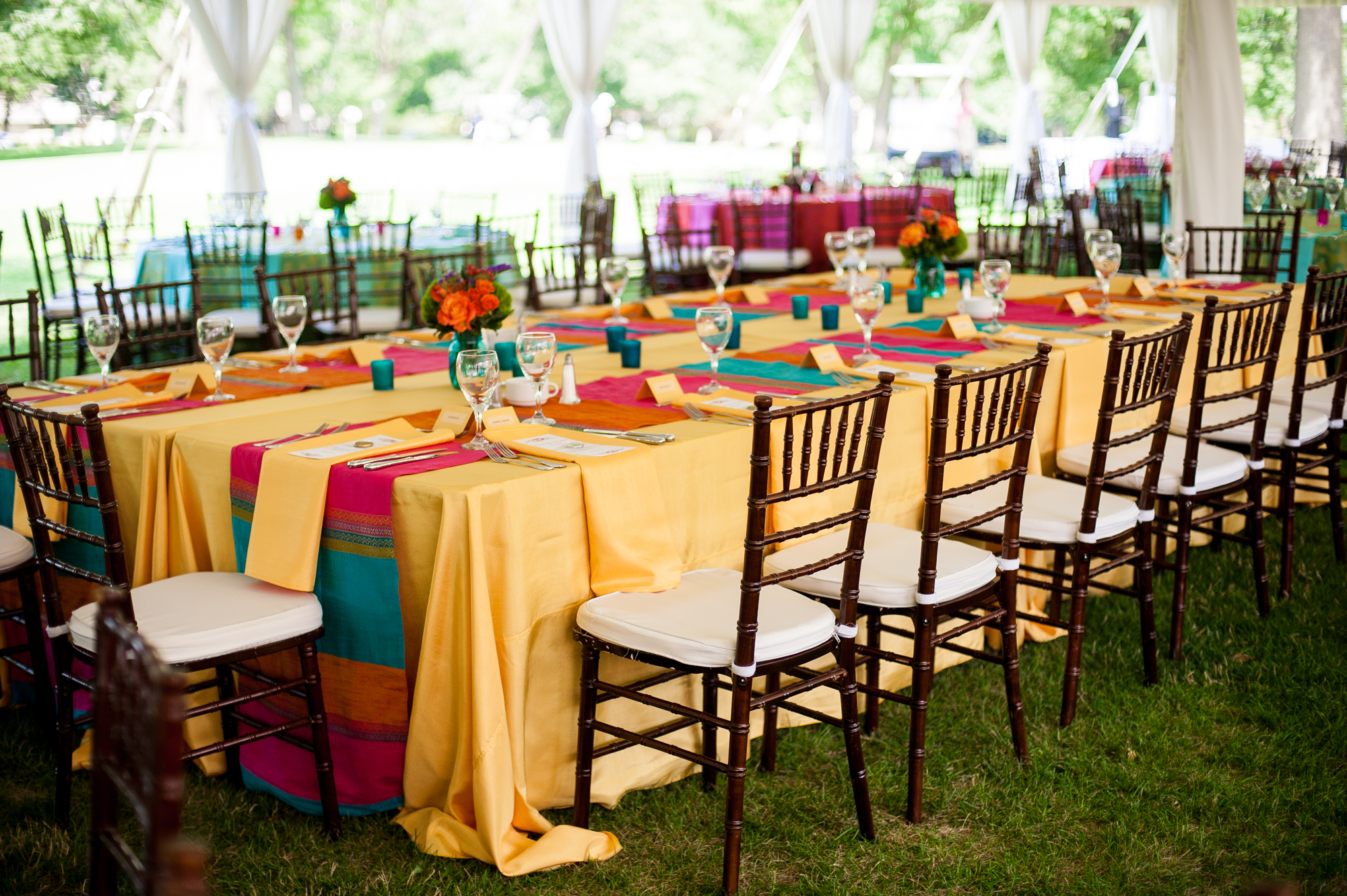 rainbow colorful wedding tent reception