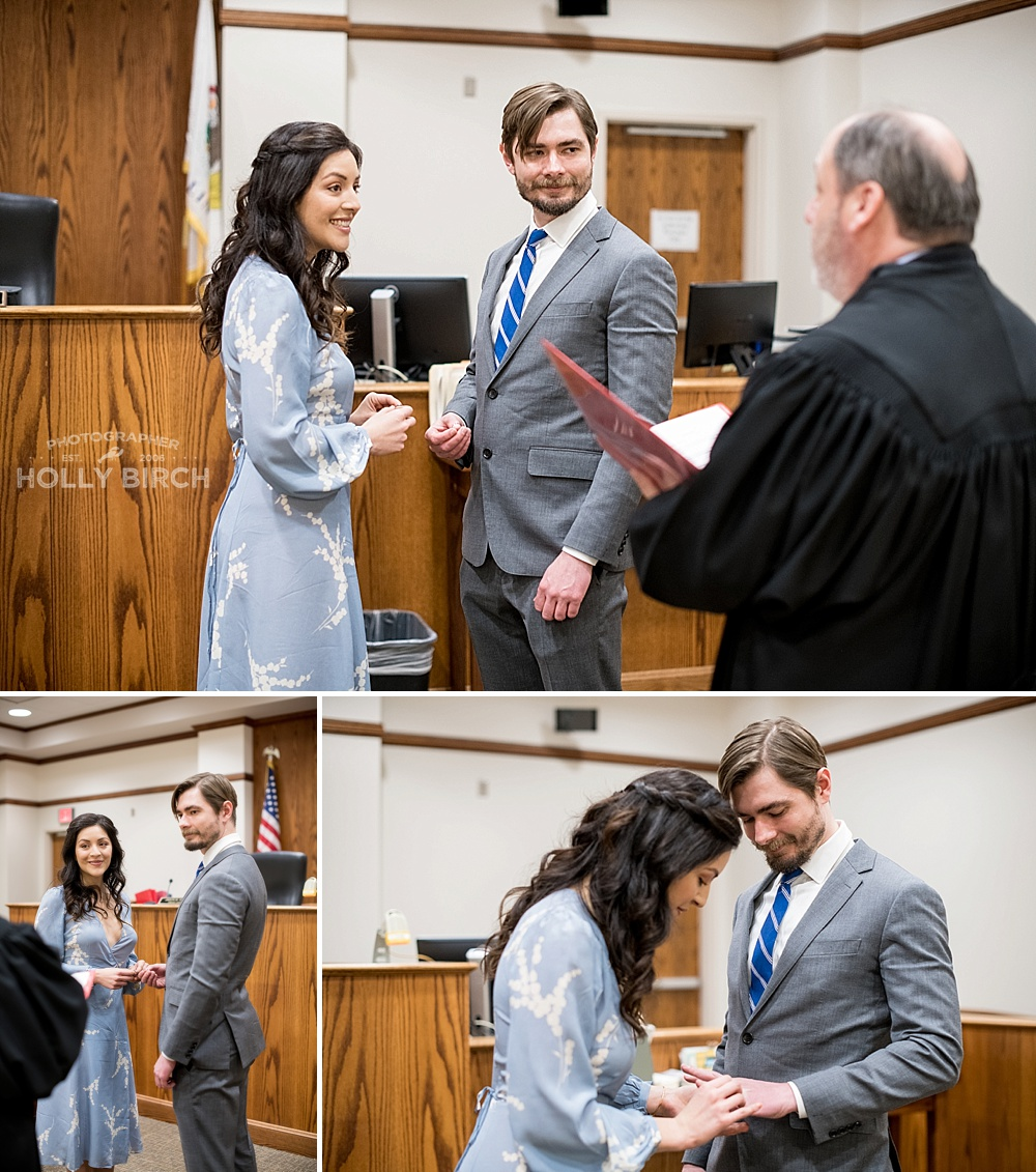 married by judge in a courtroom
