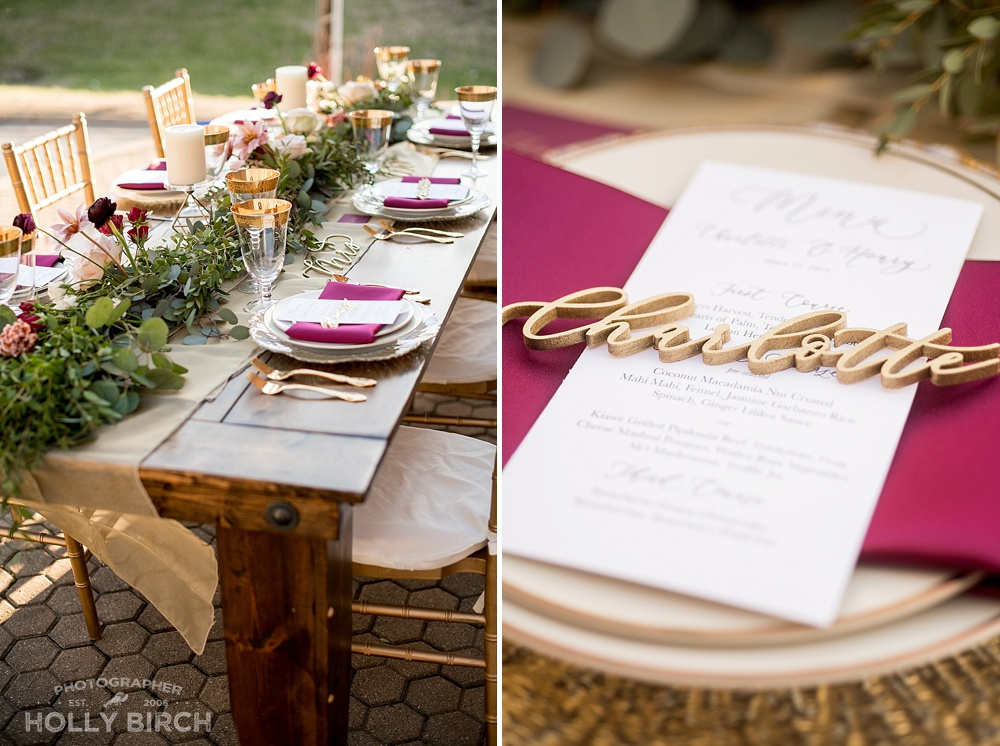 Elegant gold wedding tablescape