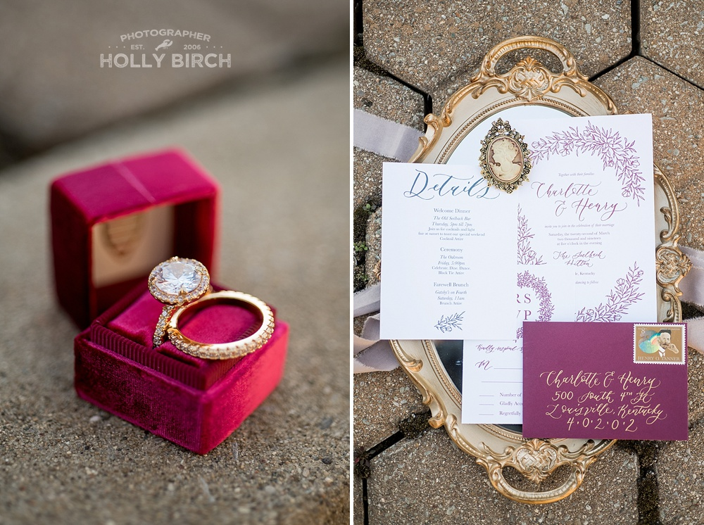 The Mrs Box wedding rings and invitation suite