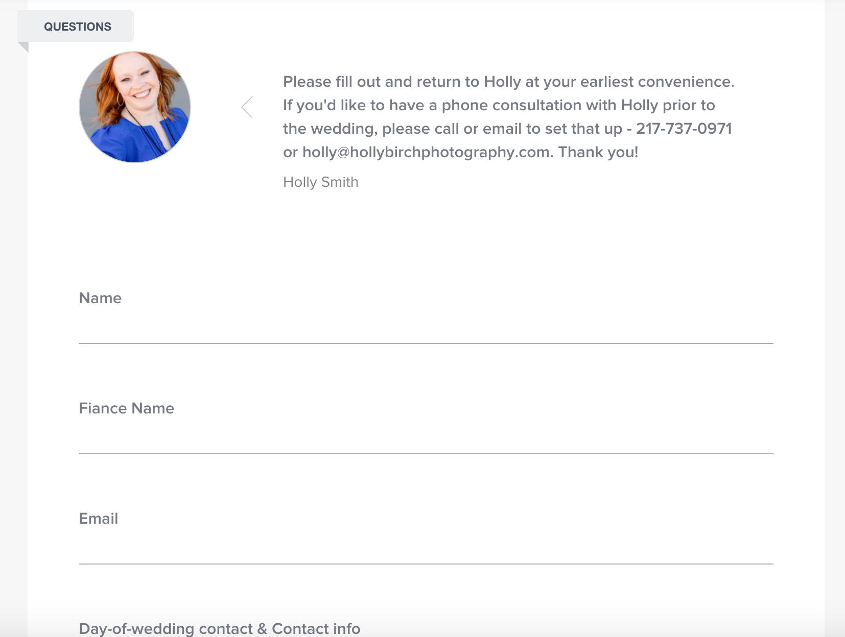 Honeybook makes client questionnaires easy and fast