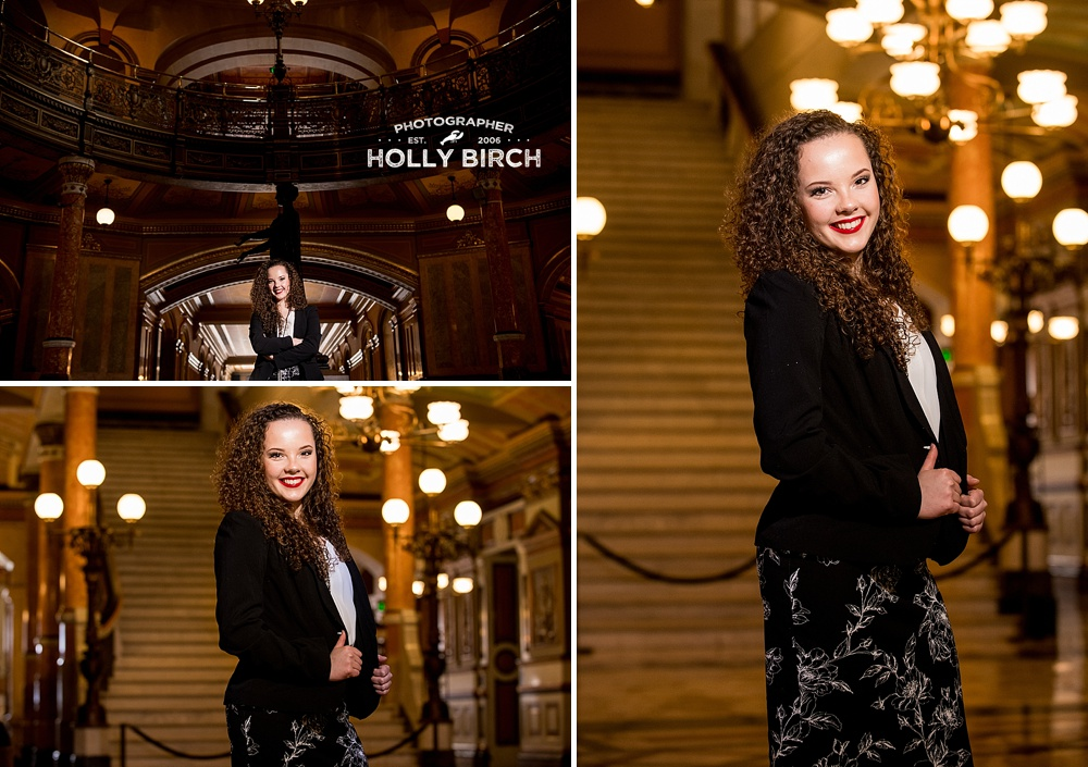 senior photo session at Illinois State Capitol