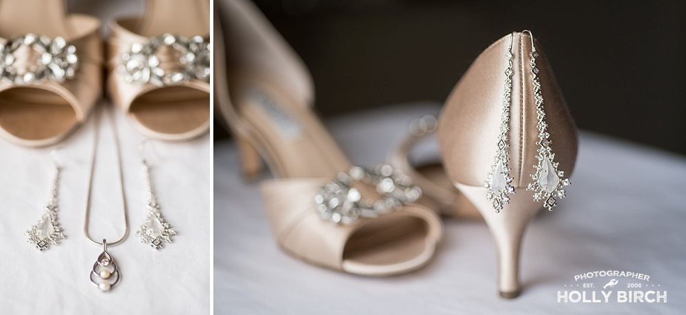 satin high heels and wedding jewelry