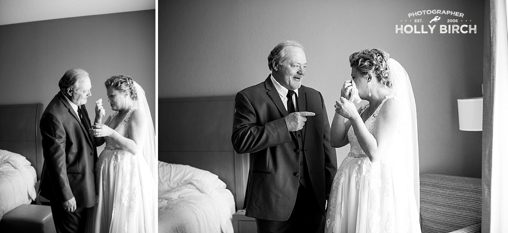 father-daughter first look on wedding day