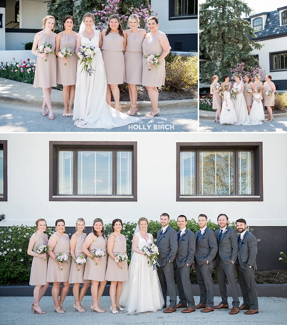 bridesmaids in beige knee-length dresses