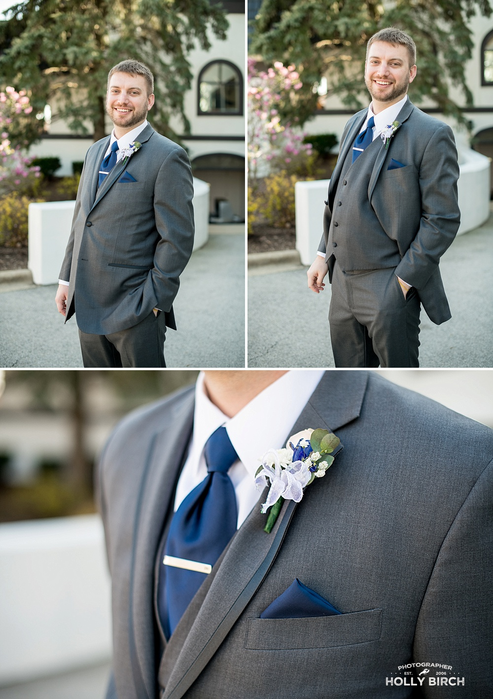 groom in 3 piece gray suit