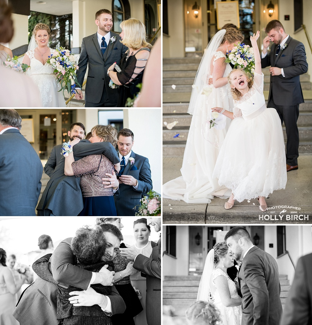 hugs from family following wedding ceremony