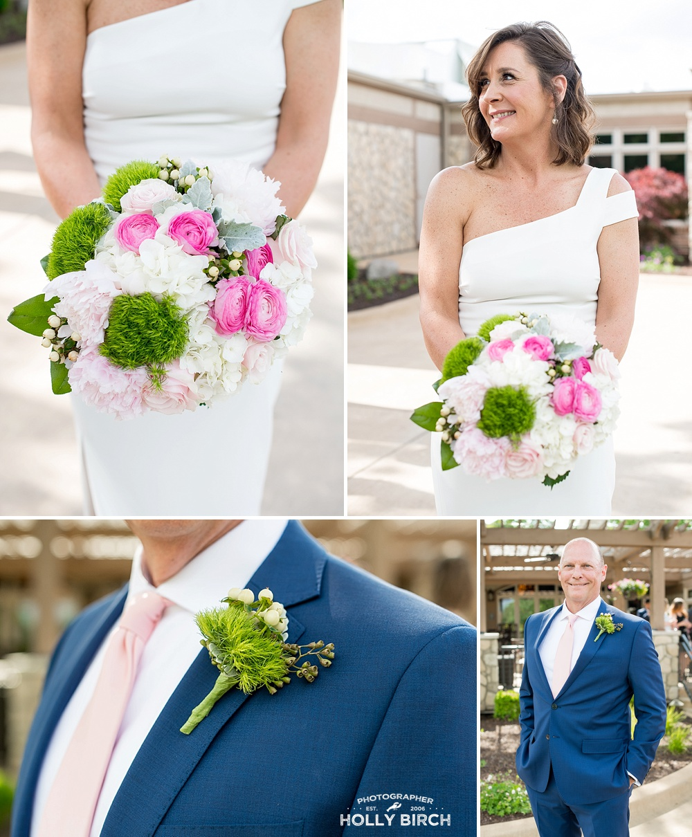 Beautiful pink and white bouquet with greenery