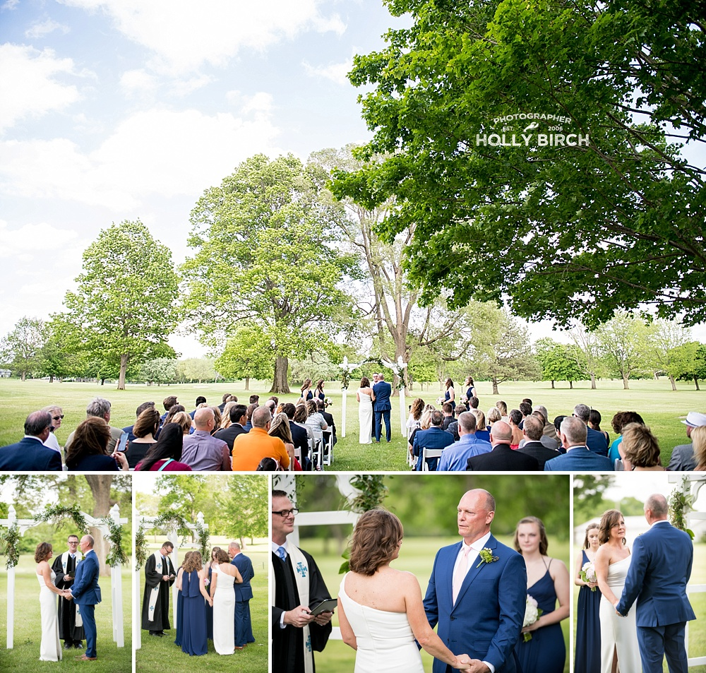 outdoor ceremony on golf course at Urbana country club