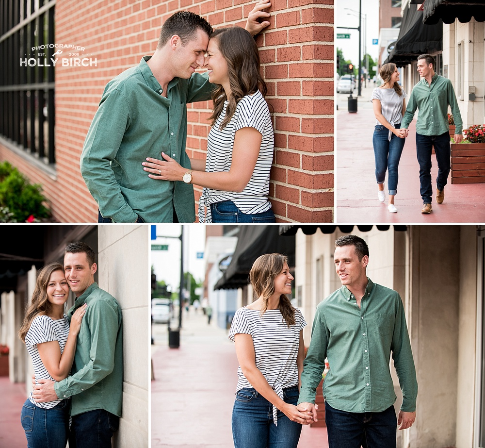 engagement session strolling around downtown Champaign
