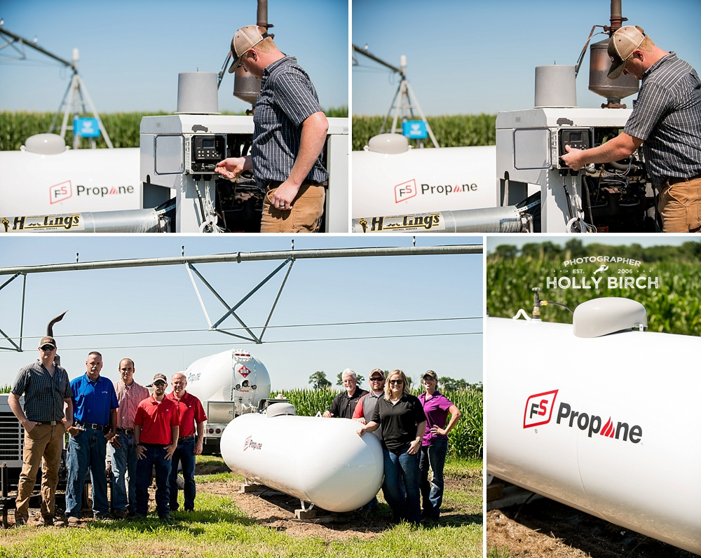 A farmer starts up his irrigation system powered by propane