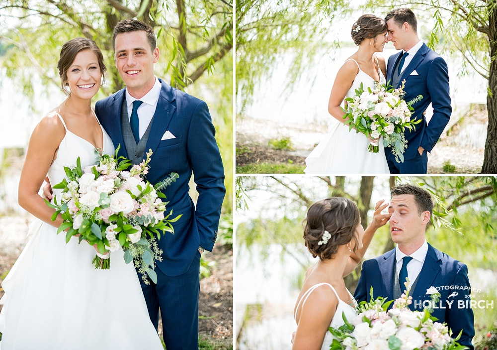 bride and groom portraits on sunny wedding day