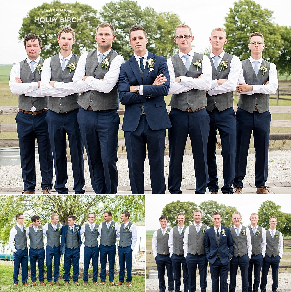 groomsmen poses at Willow Creek Farm
