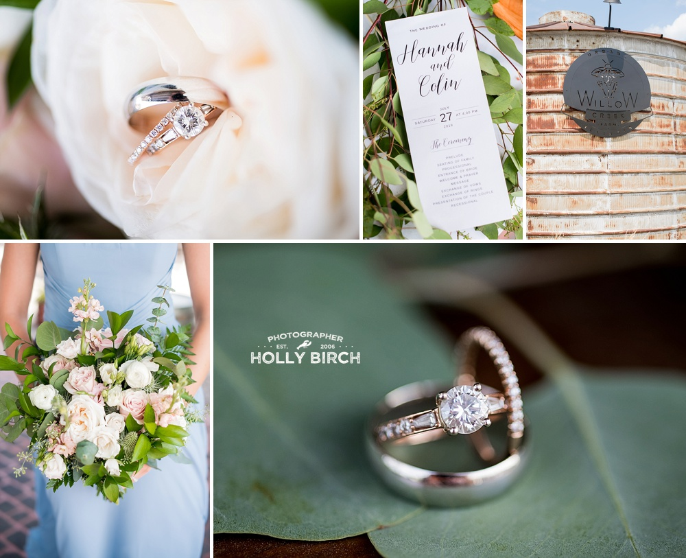 dusty blue and green theme wedding with leafy florals