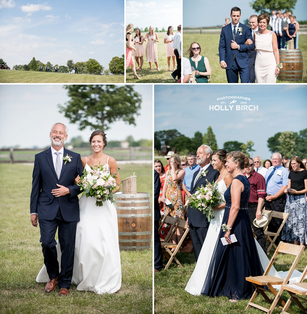 outdoor wedding ceremony on lawn at Willow Creek Farm