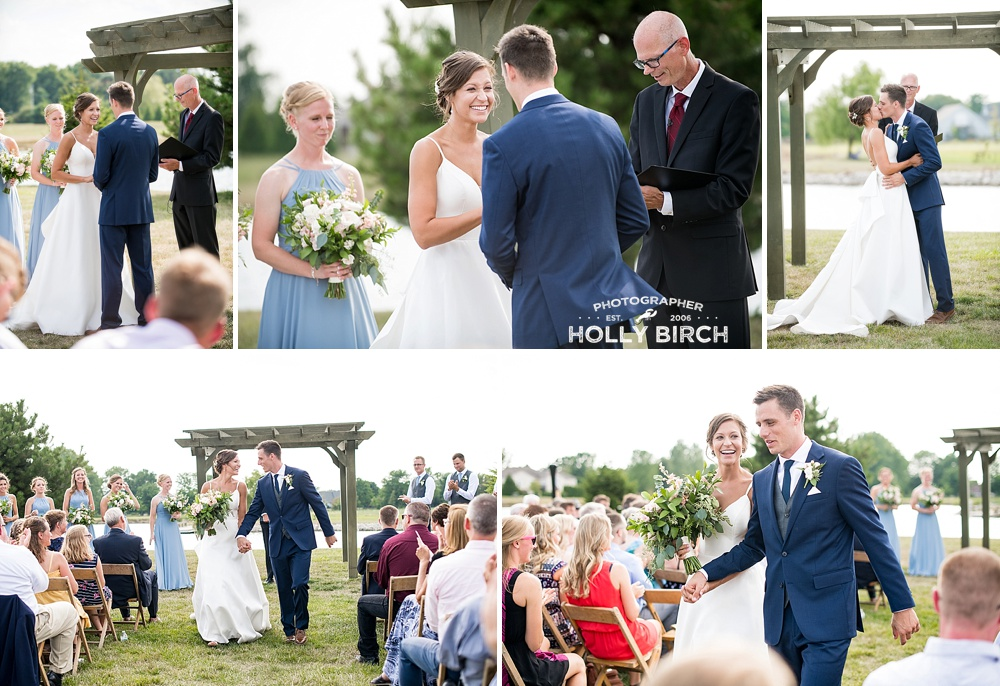 bride and groom married by officiant