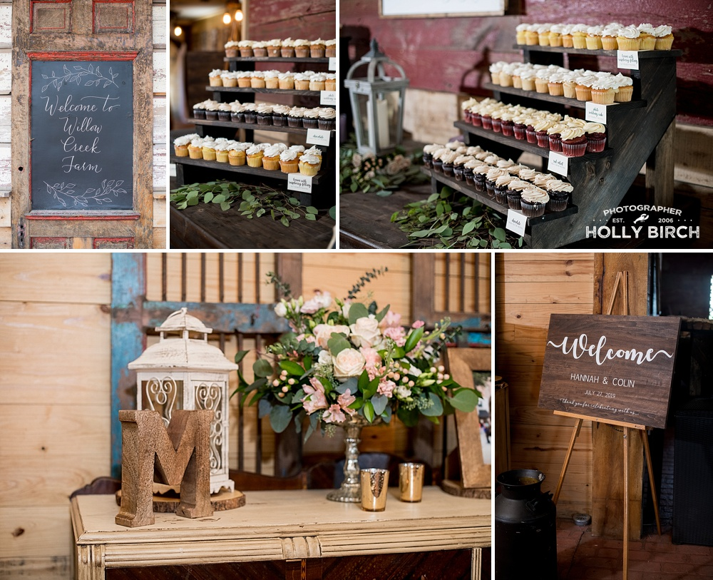 cupcakes and rustic decor at Willow Creek Farm